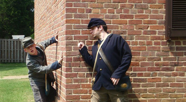 Joseph and James dressed in civil war costumes